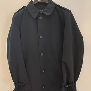 Satin-lined, belted black trench coat size S